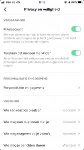 Privacy instellingen Tiktok app