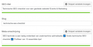 Meta-titel en meta-description Events & Marketing